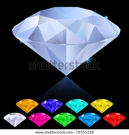 Realistic diamonds in different colours. Illustration for design on black background - stock vector