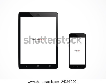 Realistic digital tablet and mobile phone with blank screen area for copy space on white background. Vector illustration. - stock vector