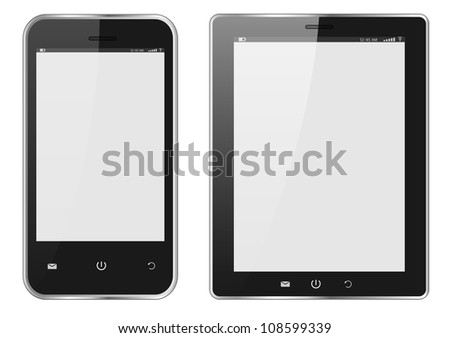 Realistic Digital tablet PC and Mobile phone with blank screen isolated on white. Vector EPS10 - stock vector