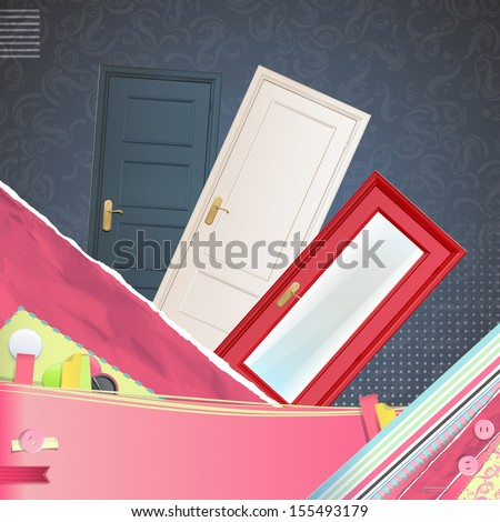 Realistic door over cute background. Vector design.  - stock vector