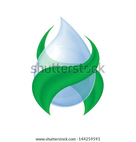 realistic drop of water around the green leaves on a white background - stock vector