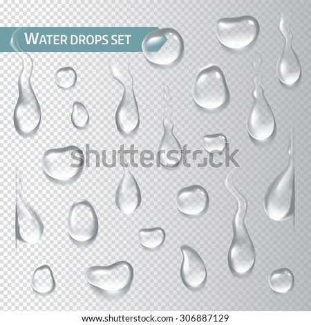 Realistic droplets water on transparent background. Vector illustration - stock vector