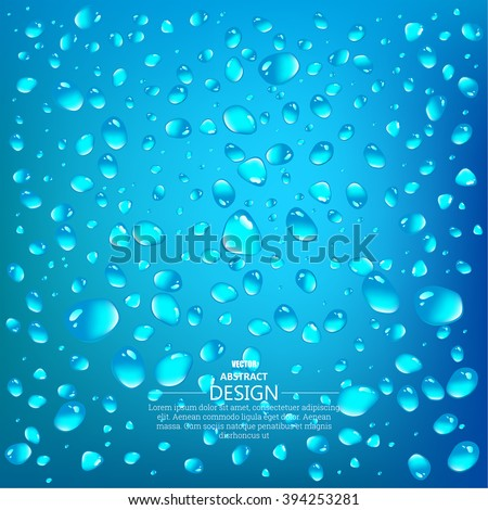 Realistic drops of a rain on a blue background in the form of glass. Abstract background. Vector illustration. - stock vector