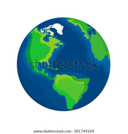 Realistic Earth isolated on white background. Cartoon drawn Earth. Our planet. Icon / logo / label / sign / badge of Earth for your design. Stock vector.