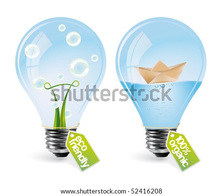 Realistic eco bulbs - set 3 - stock vector