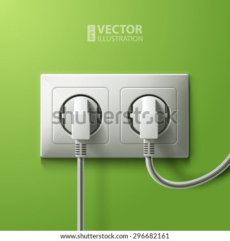 Realistic electric white double socket and 2 plugs on green wall background. RGB EPS 10 vector illustration - stock vector