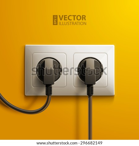 Realistic electric white double socket and two black plastic plugs on yellow wall background. RGB EPS 10 vector illustration - stock vector