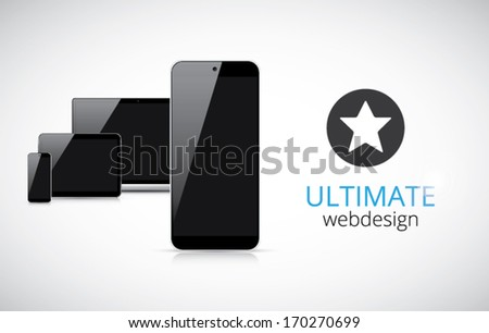 Realistic electronic devices (tablet, laptop, smartphone) vector - stock vector