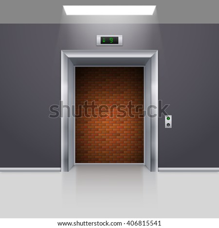 Realistic Elevator with Open Door with Deadlock - stock vector