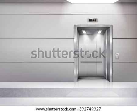 Realistic Empty Elevator Hall Interior Waiting Stock Vector