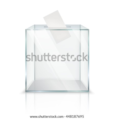 Realistic empty transparent ballot box with voting paper in hole on white background isolated vector illustration - stock vector
