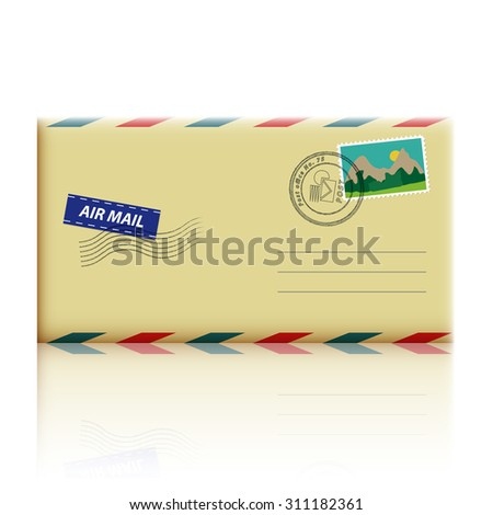 Realistic envelope with stamp - stock vector