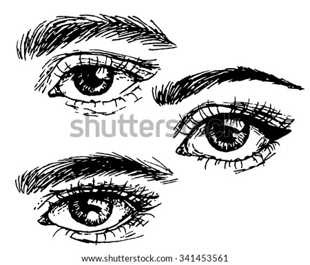 Realistic eyes vector sketch
