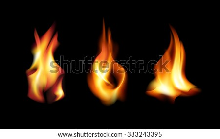 Realistic fire flames on a black background. Hot wildfire energy. Vector illustration. - stock vector