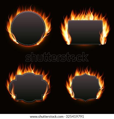 Realistic Fire Label Set on Dark Background Vector Illustration EPS10 - stock vector