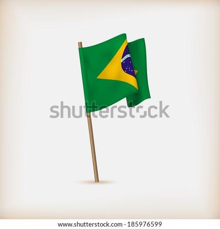 Realistic Flag Of Brazil. Vector - stock vector