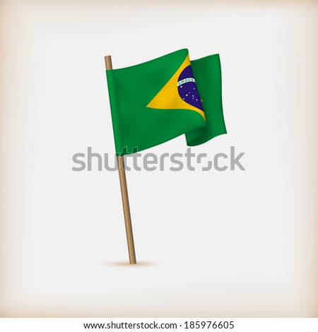 Realistic Flag Of Brazil. Vector - stock vector