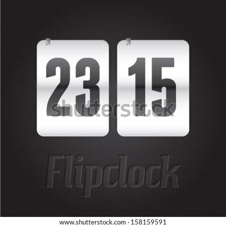 Realistic flip clock vector illustration eps 10 - stock vector