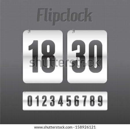 Realistic flip clock vector illustration eps 10 - stock vector