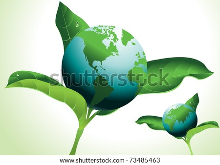 Realistic flower design with earth globe - stock vector