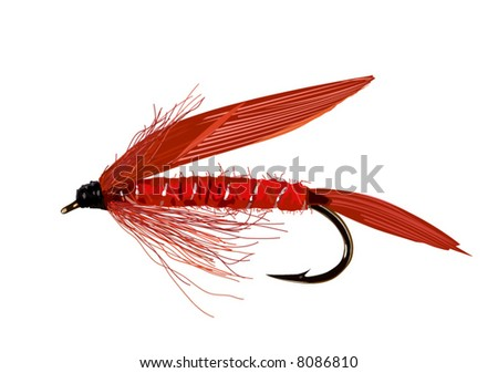 Realistic fly fishing lure in red colors. Layered and grouped.