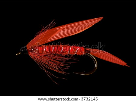 Realistic fly fishing lure in red colors. Layered and grouped. Black background removable.
