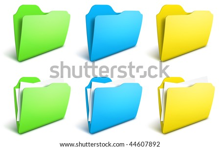 Realistic folders vector icons - EPS 10 - stock vector