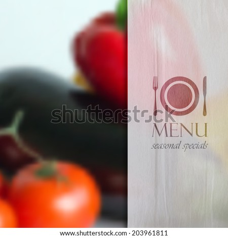 realistic food background of different vegetables (pepper, tomato, eggplant). vector restaurant menu design.