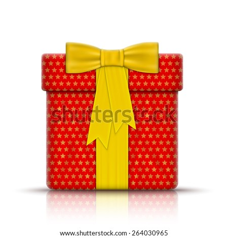 Realistic Gift Box Wrapped by Paper. Vector Illustration. - stock vector