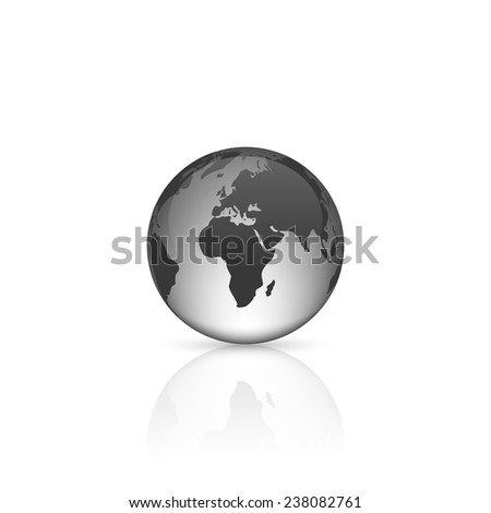 Realistic glass globe with reflection on white background.