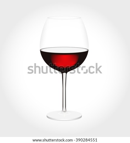 Realistic glass of red wine in vector - stock vector