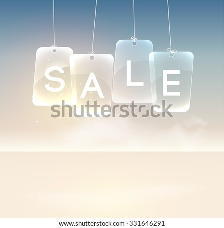 Realistic glass sale signboard on the background. each letter in a separate sign. Vector Illustration, eps10, contains transparencies. - stock vector