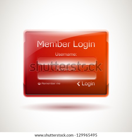 Realistic glossy login window - stock vector