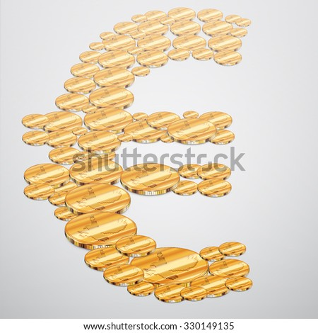 Realistic gold coins Euro shaped, vector - stock vector