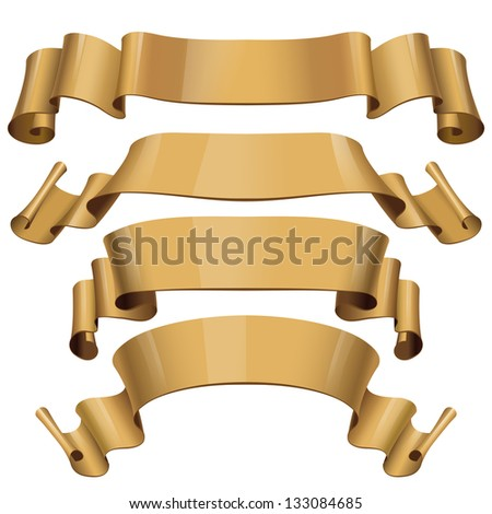 Realistic Gold Glossy vector ribbons on a for your design project. Vector illustration - stock vector