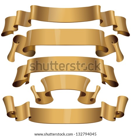 Realistic Gold Glossy vector ribbons on a white background for your design project. Vector illustration - stock vector