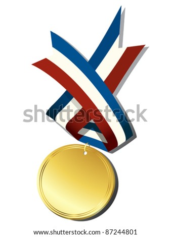 Realistic gold medal and ribbon, isolated objects over white background - stock vector
