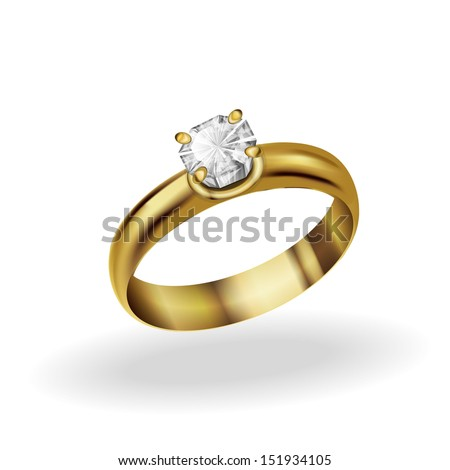 realistic gold ring with a diamond on a white background - stock vector