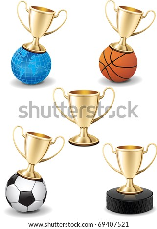 Realistic gold shiny trophy cup vector collection set on white background with different sport equipment and earth globe - stock vector