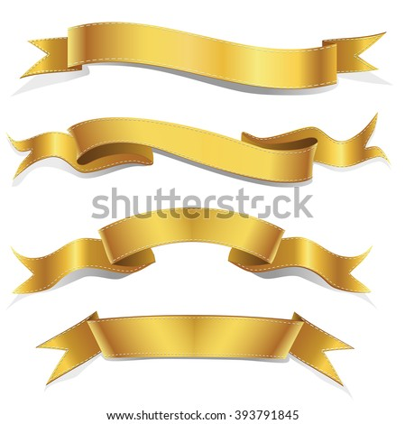 Realistic Gold Vector Ribbons Set ,  banner, with stitch detailing for your design project - stock vector
