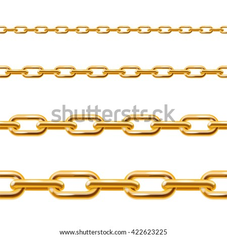 Realistic Golden Chain Line Set. Vector illustration
