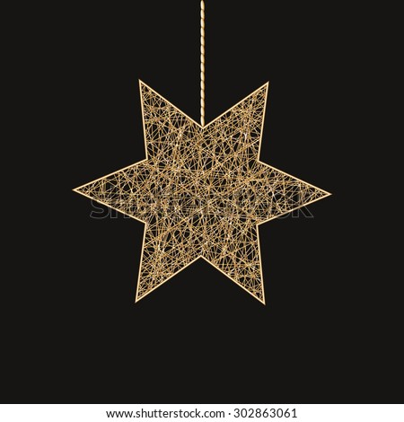Realistic golden star decoration. Vector illustration EPS10. Golden jewelery isolated object. - stock vector