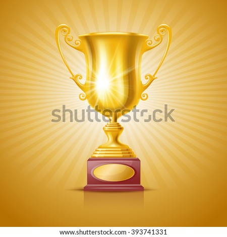 Realistic Golden Trophy Cup on Festive Background. Winner Cup. There is a Place For Your Text. Vector Illustration - stock vector