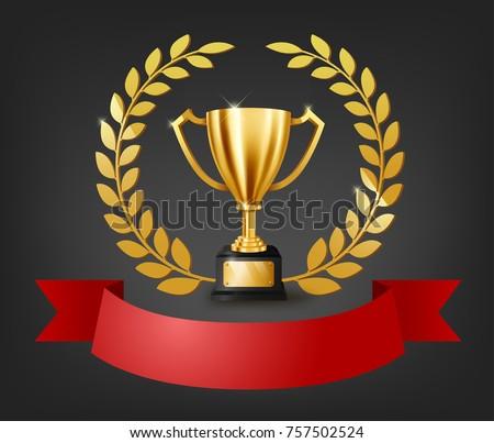 Realistic Golden Trophy Gold Laurel Wreath Stock Vector 2018