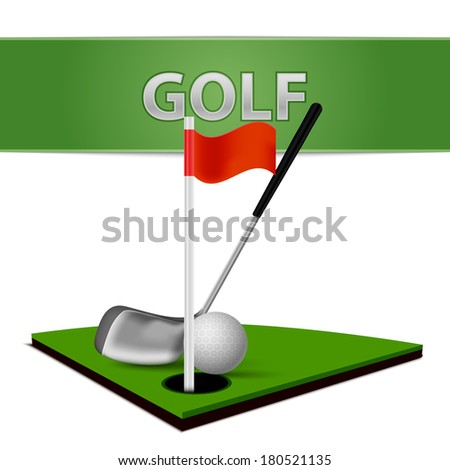 Realistic golf ball club and green grass field emblem isolated vector illustration - stock vector