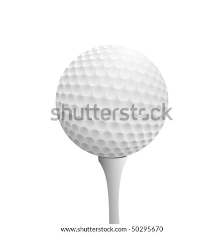 Realistic golf ball on tee - stock vector
