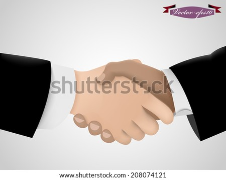 realistic graphic design vector of business man shake hand