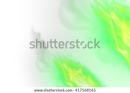 Realistic Green Fire Flames Effect on White Background - stock vector
