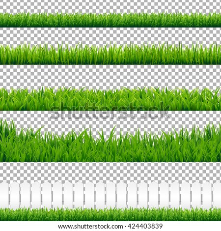 Realistic Green Grass Borders, Isolated on Transparent Background, Vector Illustration - stock vector