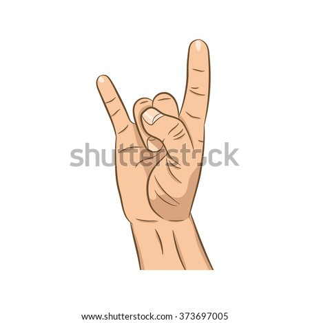 Realistic hand with rock n roll sign icon with long shadow. Rock band. Culture. Flat design for social networks, web sites, apps.  - stock vector
